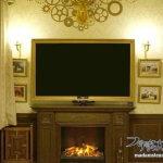 暖炉周りの改造(4)アンティークなテレビ額